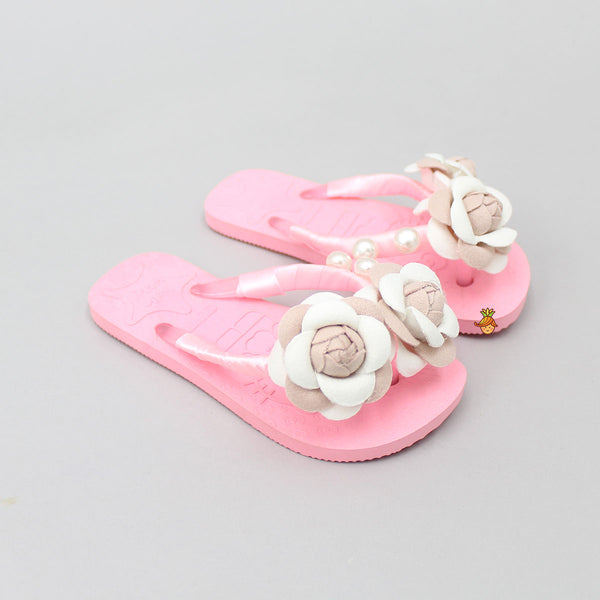 Pink Pearly Floral Flip Flops
