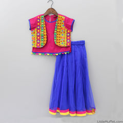 Embroidered Jacket Style Blouse And Lehenga With Dupatta