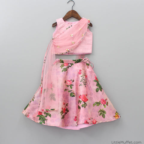 Pre Order: Rose Print Pink Ghagra And Top With Attached Dupatta