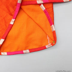 Pre Order: Umbrella Embroidered Orange Kurta And Dhoti