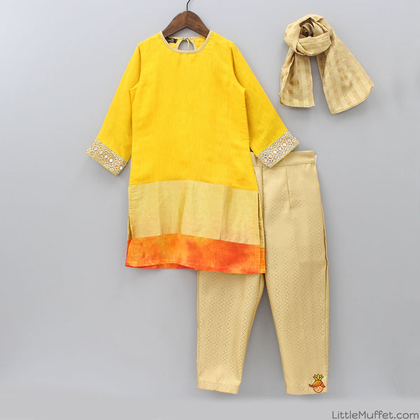 Elegant Golden Orange Suit With Pant