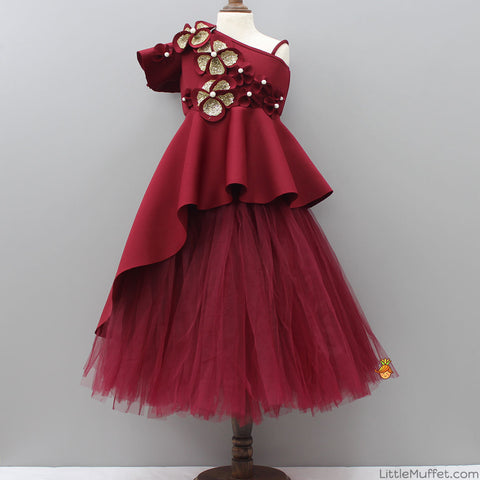 Pre Order: Maroon High Low Peplum With Tutu Skirt