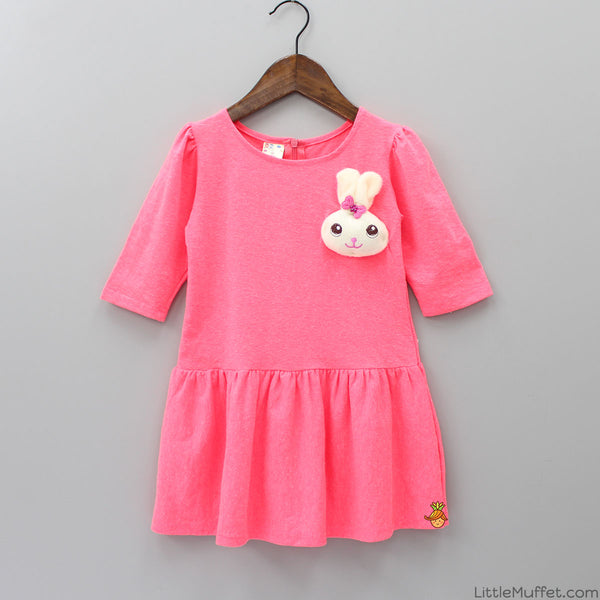 Pink Bunny Patch Dress