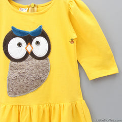 Bright Yellow Owl Patch Dress
