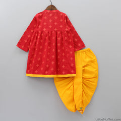 Red Embroidered Kedia With Yellow Dhoti