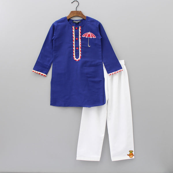 Pre Order: Navy Blue Umbrella Motif Kurta And White Salwar