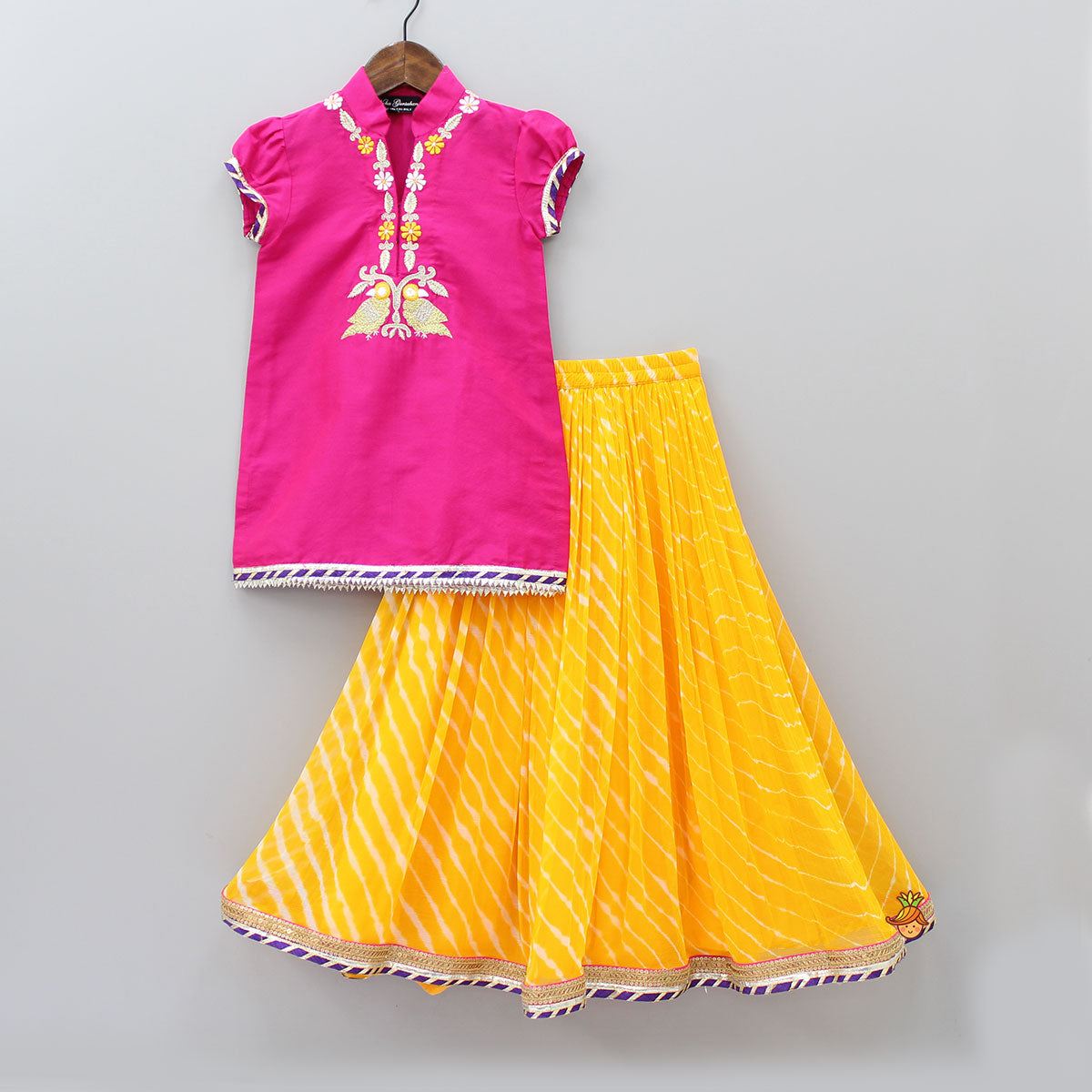 Pre Order: Pink Kurta And Yellow Leheriya Lehenga