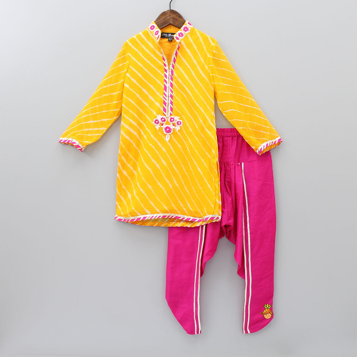 Pre Order: Yellow Leheriya Kurta And Pink Dhoti