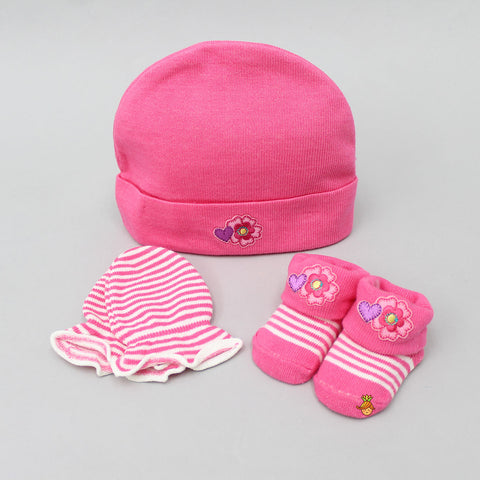 Hearty Floral Cap, Mittens And Socks Set For New Born