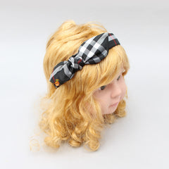 Checks & Bow Hairband - Black