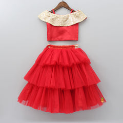 Pre Order: Off Shoulder Red And Golden Top With Layered Skirt