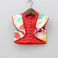 Pre Order: Red Umbrella Print Top With Palazzo