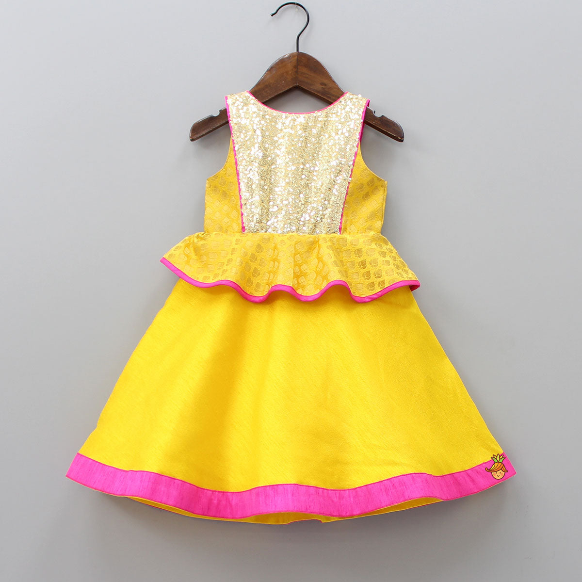 Pre Order: Peplum Yellow Gown With Sequence