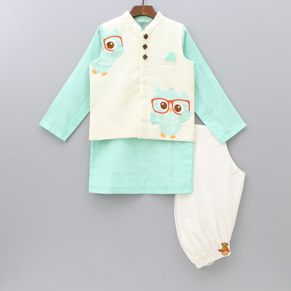 Pre Order: Owl Patch Nehru Jacket with Green Kurta & Churidaar