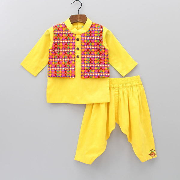Pre Order: Yellow Kurta With Attached Phulkari Jacket And Patiala
