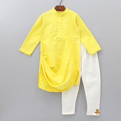 Pre Order: Yellow Kurta With Reindeer Embroidery Jacket And Churidar