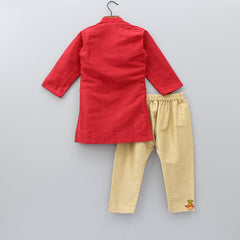 Bird Embroidered Red Kurta And Pyjama Set