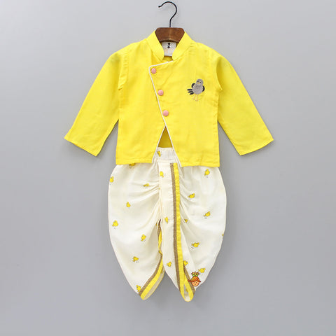 Pre Order: Yellow Bird Printed Kurta With Dhoti