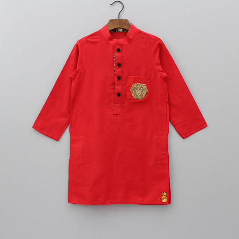 Pre Order: Red Kurta With Lion Embroidered Patch