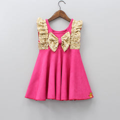 Pre Order: Pink Frilly Sequin Dress