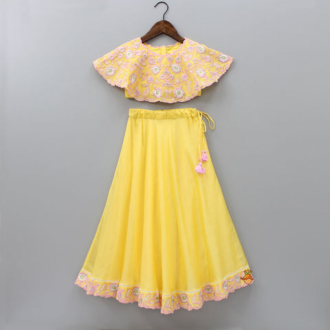 Pre Order: Yellow Embroidered Cape Choli With Lehenga