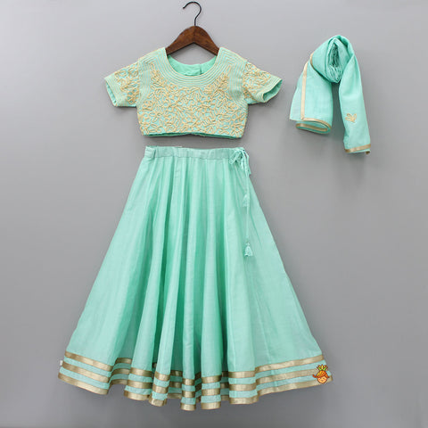 Pre Order: Mint Green Embroidered Choli And Lehenga With Dupatta