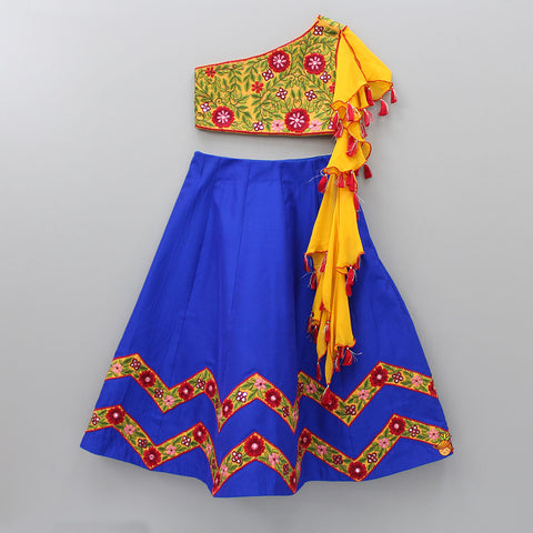 Pre Order: One Shoulder Embroidered Choli With Blue Lehenga
