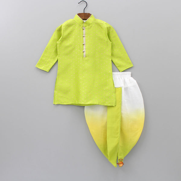 Green Kurta With Three Shade Dhoti