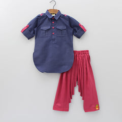 Hand Embroidered Navy Blue And Maroon Pathani Set With Football Motif
