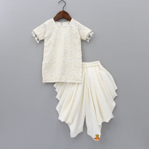 Pre Order: White Chikan Work Kurta With Dhoti