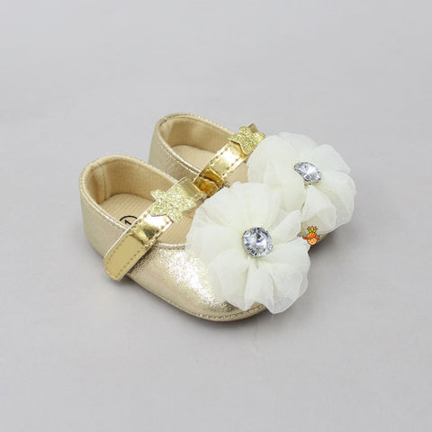 Golden Flowery Booties