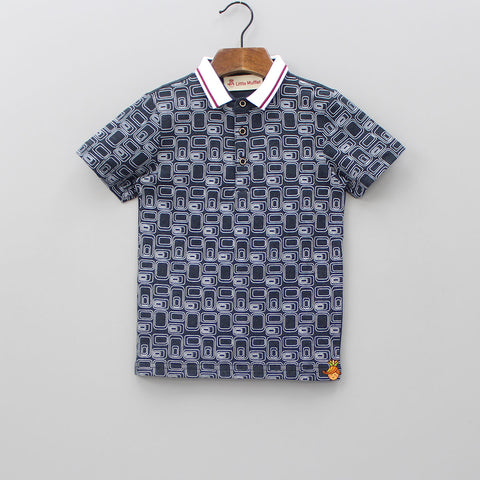 Dark Grey Geomtric Print Polo