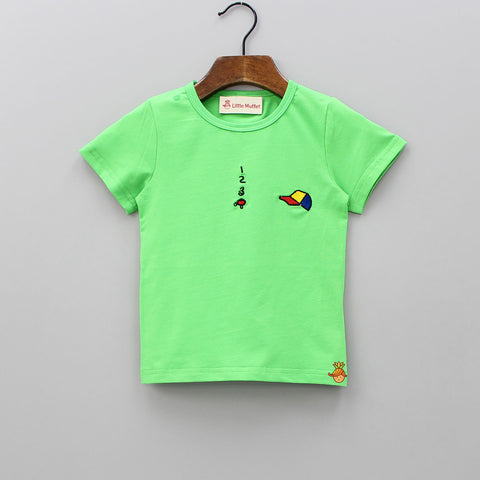 Green Tee With Cap Embroidery Patch
