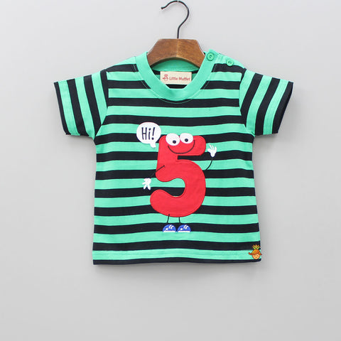 Hi Five Green And Black Stripes T-shirt