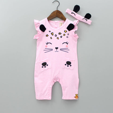 Pink Kitty Print Bodysuit