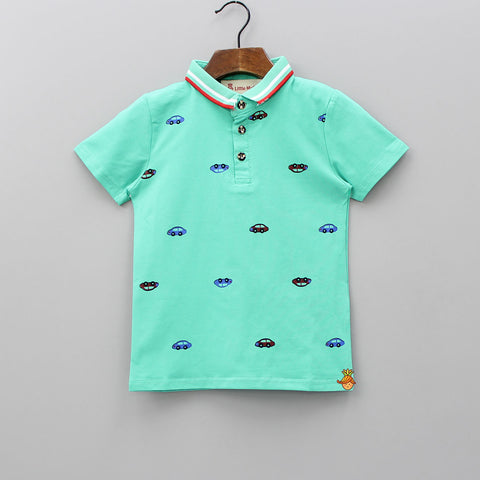 Aqua Blue Car Print Polo