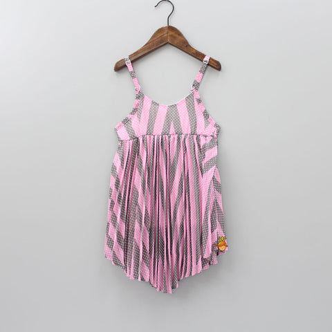 Pink And Grey Stripped Dress