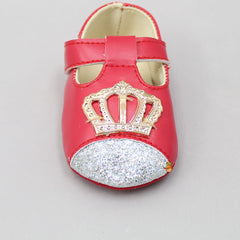 Red Shimmery Crown Booties