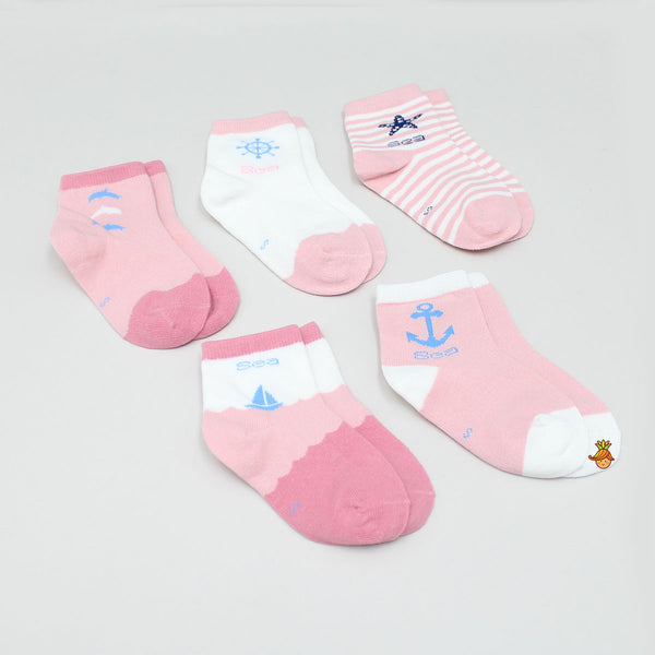 Pink Sea Stylish Socks - Set Of 5