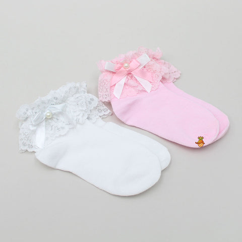 Glittery Pearl 2 Socks -Set Of 2 - Pink & White