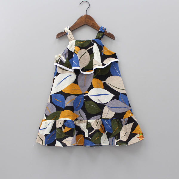 Multicolored Leaf Print Dress