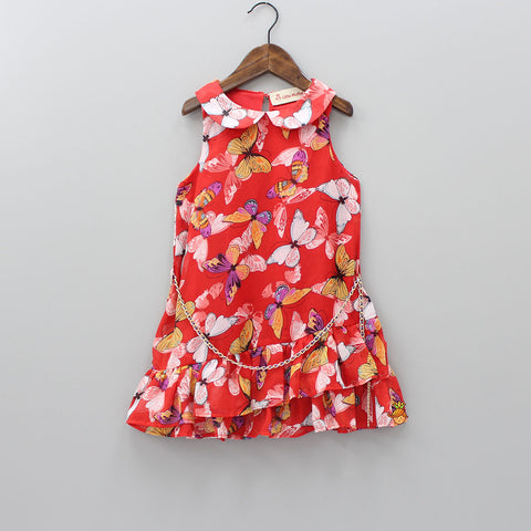 Multicolored Butterfly Dress