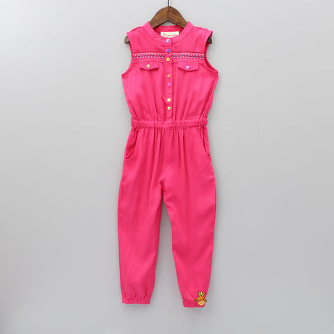 Hot Pink Embroidery Jumpsuit