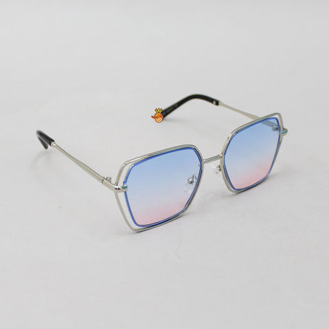 Dual Toned Blue Geometric Sunglasses