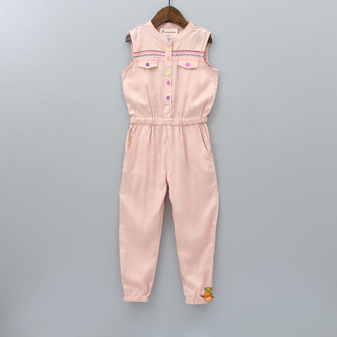 Peach Embroidery Jumpsuit