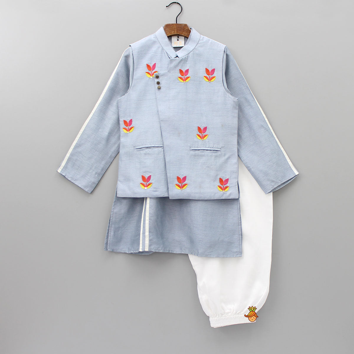 Pre Order: Stripy Kurta With Embroidered Floral Jacket And White Pyjama