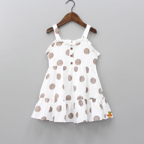 White Polka Print Sleeveless Dress