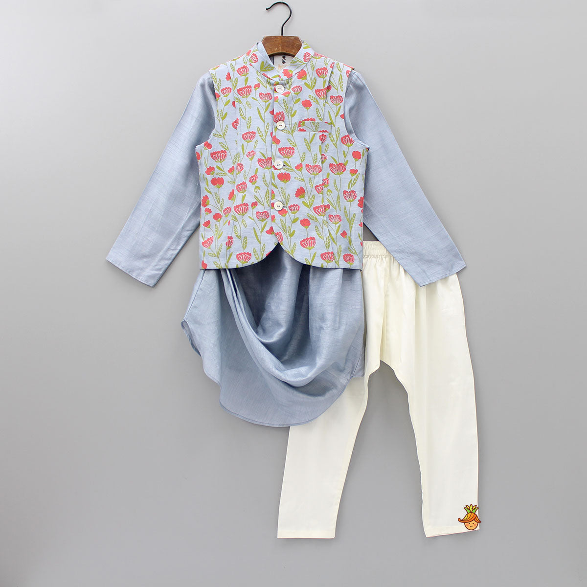 Pre Order: Cowl Style Kurta With Floral Print Jacket And Pyjama