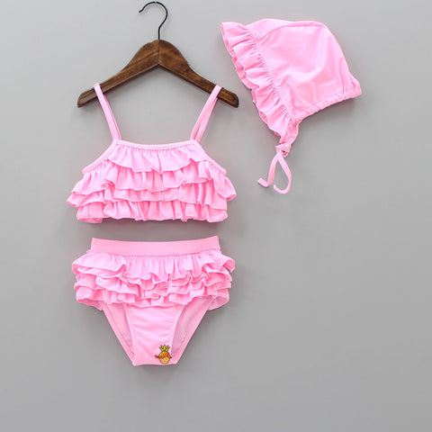 Pink Frilly Swimsuit With Cap