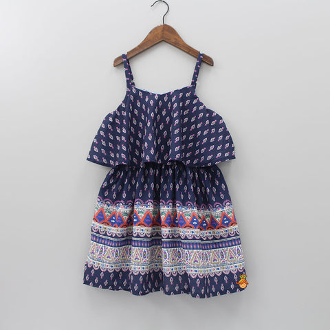 Navy Blue Printed Cape Dress